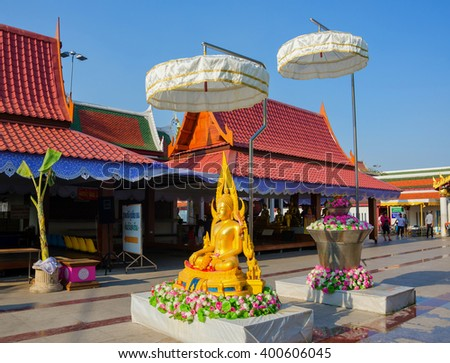 PHITSANULOK,THAILAND - APRIL 4, 2016 Wat Phra Sri Rattana Mahathat Temple celebrate Songkran by pouring water for Buddha images   and asking for blessings on April 4, 2016 in phitsnulok,Thailand. - stock photo