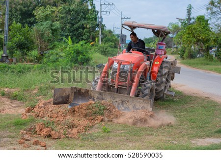 PHITSANULOK, THAILAND - DECEMBER 4 , 2016 : dozer in construction site  in Phitsanulok, Thailand