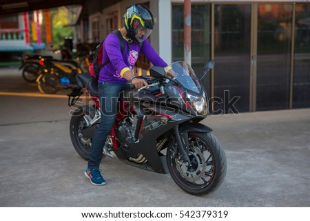 PHITSANULOK, THAILAND - DECEMBER 25 , 2016 :  Private NEW  Honda CBR650F Motorcycle  in Phitsanulok, Thailand