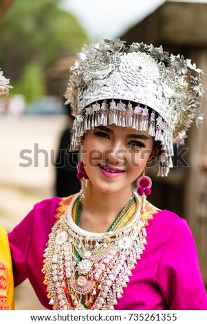 Phitsanulok, THAILAND - July 30,2017: Young woman from an ethnic minority living in Thailand, in traditional costume dressed with silver. These peoples usually live in the mountains.
