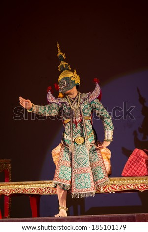 PHITSANULOK, THAILAND-MARCH 21: Unidentified actress is showing Thai ballet in Nangloi : play performed by all female at Naresuan university on Mar 21, 2014 in Phitsanulok, Thailand.