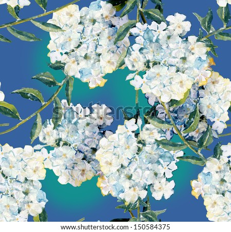 Phlox Seamless Pattern - stock photo