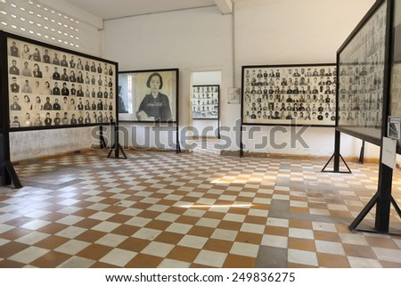 PHNOM PENH, CAMBODIA - FEBRUARY 3: Photos of torture victims at Tuol Sleng Genocide Museum FEBRUARY 3, 2015 in Phnom Penh, Cambodia