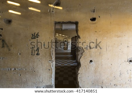 PHNOM PENH, CAMBODIA - JANUARY 28: Interior of a cell at Tuol Sleng prison in Phnom Penh, Cambodia. This building was a concentration camp during the Cambodian genocide under the Khmer Rouge. 2016