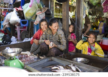 PHNOM PENH, CAMBODIA - NOV 17: The fish seller and her family in Toul Tom Poung Market, Phnom Penh, Cambodia on November 17 2014. It is also called Russian Market which is a good place for souvenirs. - stock photo