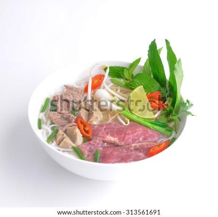 Pho Vietnamese beef soup - stock photo