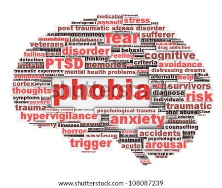 Phobia symbol conceptual design isolated on white. Anxiety disorder icon conceptual design - stock photo