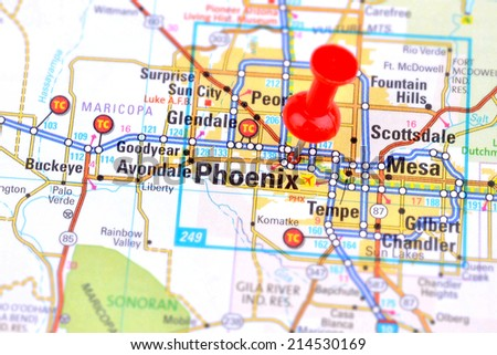 Phoenix and Map - stock photo