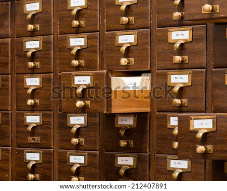 PHOENIX, ARIZONA - AUGUST 6: Library card catalog at the Arizona State Capitol building on August 6, 2014 in Phoenix, Arizona - stock photo