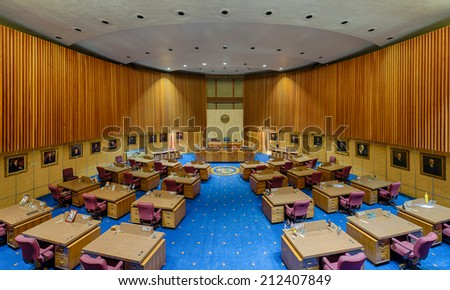 PHOENIX, ARIZONA - AUGUST 6: Senate chamber from the balcony on August 6, 2014 in Phoenix, Arizona - stock photo