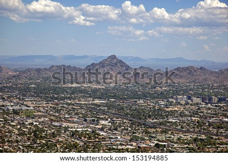 Phoenix, Arizona skyline looking to the northeast including Piestewa Peak
