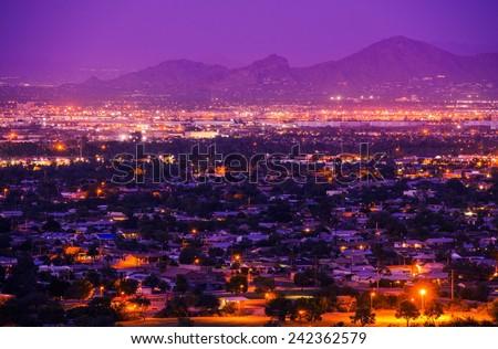 Phoenix Arizona Suburbs at Night. Phoenix, United States. City Panorama. - stock photo