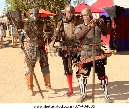 Phoenix, Arizona, United States, February 14 2016 Participants attending Arizona Renaissance Festival dressed in period costume.