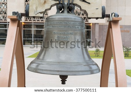 Phoenix, Arizona / USA - January 24, 2016: memorial bell in The yard of Arizona State Capitol in Phoenix, Arizona, United States. - stock photo