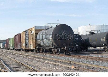 Phoenix, Arizona, USA - March 21, 2016: Railroad Tank Car On Track in Phoenix, USA.
