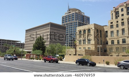 PHOENIX, AZ - JULY 29, 2016: State and city government buildings in historic downtown of major Arizona city of Phoenix.