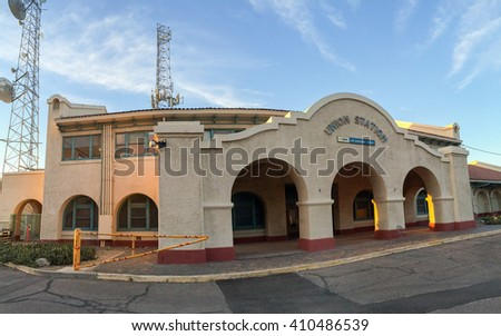 PHOENIX, AZ - MARCH 9, 2016: Panoramin shot of closed empty building of Union  train Station in Phoenix downtown  in the early morning hour, Arizona - stock photo