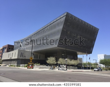 PHOENIX, AZ - MAY 19, 2016: Futuristic but practical sun shading architecture of Maricopa County Sheriffs Office Headquarters in downtown of city of Phoenix, Arizona - stock photo