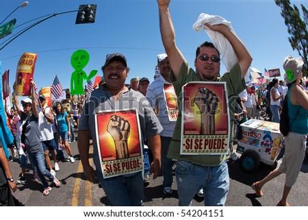 PHOENIX, AZ - MAY 29:  Protesters at Arizona anti SB1070 rally.  May 29, 2010 in Phoenix, AZ. - stock photo