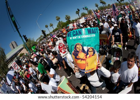 PHOENIX, AZ - MAY 29:  Protesters at Arizona anti SB1070 rally.  May 29, 2010 in Phoenix, AZ. - stock photo