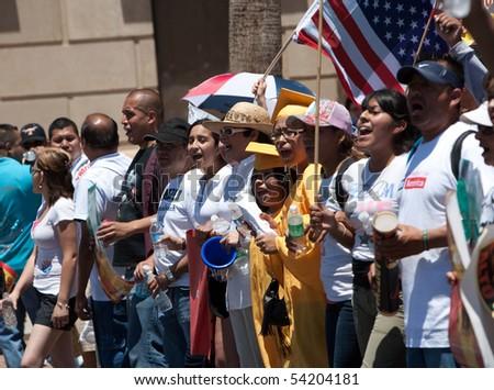 PHOENIX, AZ - MAY 29:  Protestors at Arizona anti SB1070 rally.  May 29, 2010 in Phoenix, AZ. - stock photo