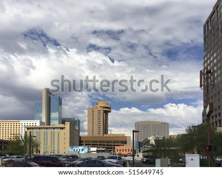 PHOENIX, AZ - NOVEMBER 3, 2016: Banks and hotels towering in crowded downtown of major Arizona city of Phoenix.