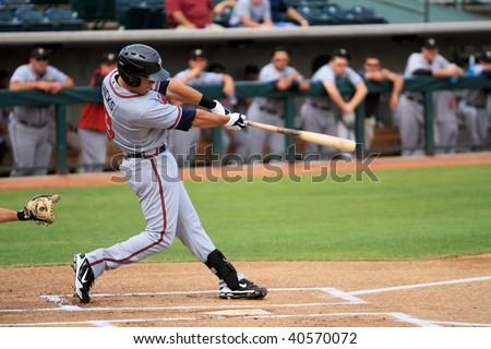 PHOENIX, AZ - NOVEMBER 4: Brandon Hicks, a top prospect for the Atlanta Braves, plays for the Peoria Saguaros in an Arizona Fall League game Nov. 4, 2009 at Phoenix Municipal Stadium, Arizona. - stock photo