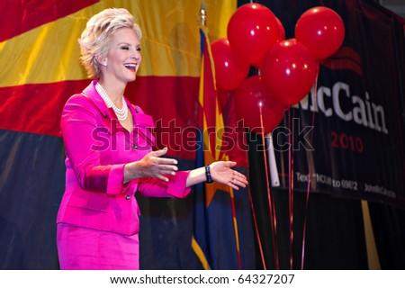 PHOENIX, AZ - NOVEMBER 2: Cindy McCain, wife of Senator John McCain, celebrates her husband's victory in his 2010 Senate campaign on November 2, 2010 in Phoenix, Arizona. - stock photo