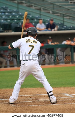 PHOENIX, AZ - NOVEMBER 4: Corey Brown, a rising star for the Oakland A's, bats in an Arizona Fall League game Nov. 4, 2009 in Phoenix, Arizona. Brown's Desert Dogs lost to the Saguaros, 3-2.