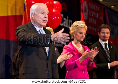 PHOENIX, AZ - NOVEMBER 2: Senator John McCain celebrates victory in his 2010 Senate campaign on November 2, 2010 in Phoenix, Arizona. - stock photo