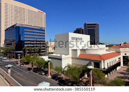 Phoenix, AZ, USA - February 21, 2016:  Downtown Phoenix including the Herberger Theater Center, Arizona Republic, a newspaper, Sheraton Hotel, Arizona Center, and Aps building.  - stock photo