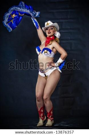 Phoenix burlesque performer Pyrasutra, shot in the studio. - stock photo
