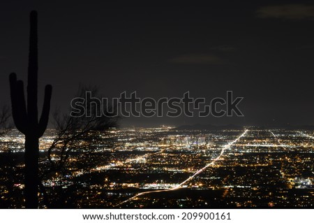 Phoenix city lights at dusk - stock photo