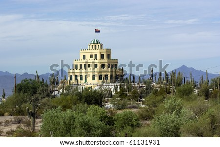 Phoenix city owned Cararro Cactus Gardens at Tovrea Castle as seen from Loop-202; East-Central Phoenix, AZ - stock photo