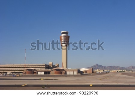 Phoenix Skyharbor airport traffic control tower - stock photo