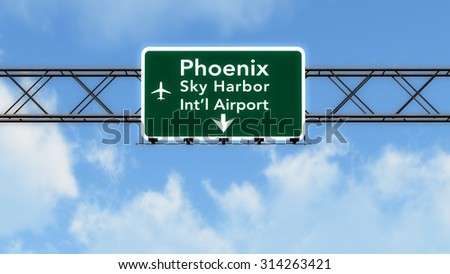 Phoenix USA Airport Highway Sign 3D Illustration