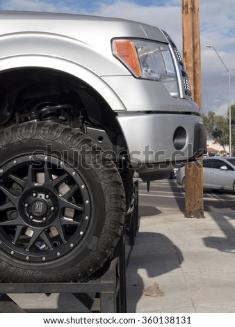 Phoenix, USA - January 08, 2015: close up of Ford pick-up truck.