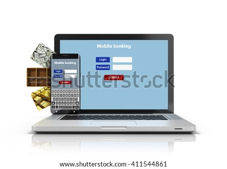 phone and a laptop with the authentication screen, and credit cards isolated on white 3D Render