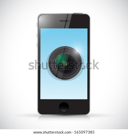 phone and camera lens illustration design over a white background - stock photo