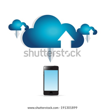 phone and cloud computing connection illustration design over a white background - stock photo