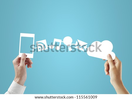 phone and cloud in hands, social media concept - stock photo