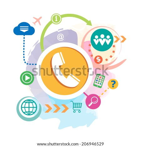 Phone and cloud on abstract background. Raster version for the print, advertising. - stock photo