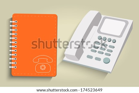 Phone and daily flat design. Raster version - stock photo