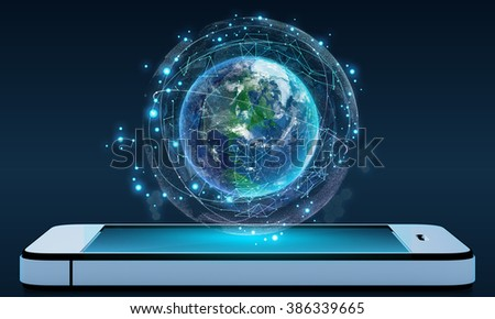 Phone and Globe surrounded by a virtual data network - stock photo