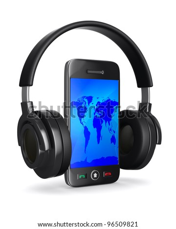 phone and headphone on white background. Isolated 3D image - stock photo