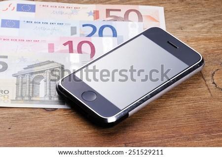 phone and money - stock photo