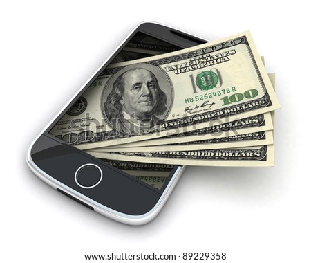 Phone and money on white background (done in 3d) - stock photo