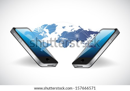 phone and network communication concept illustration design over white - stock photo