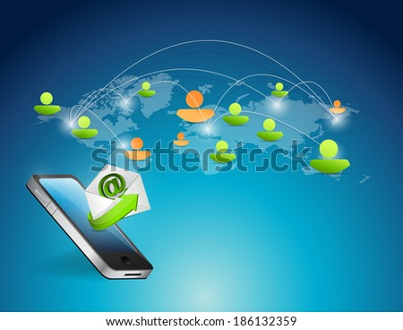 phone and world map social media illustration design over a blue background