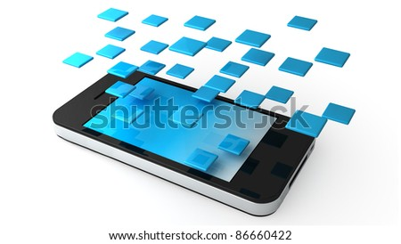 Phone Applications on white background - stock photo